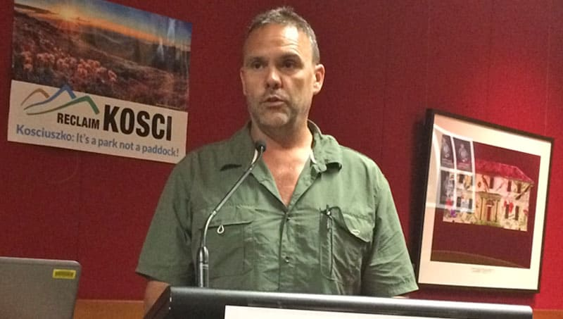 Richard Swain launches Reclaim Kosci at the NSW Parliament House.